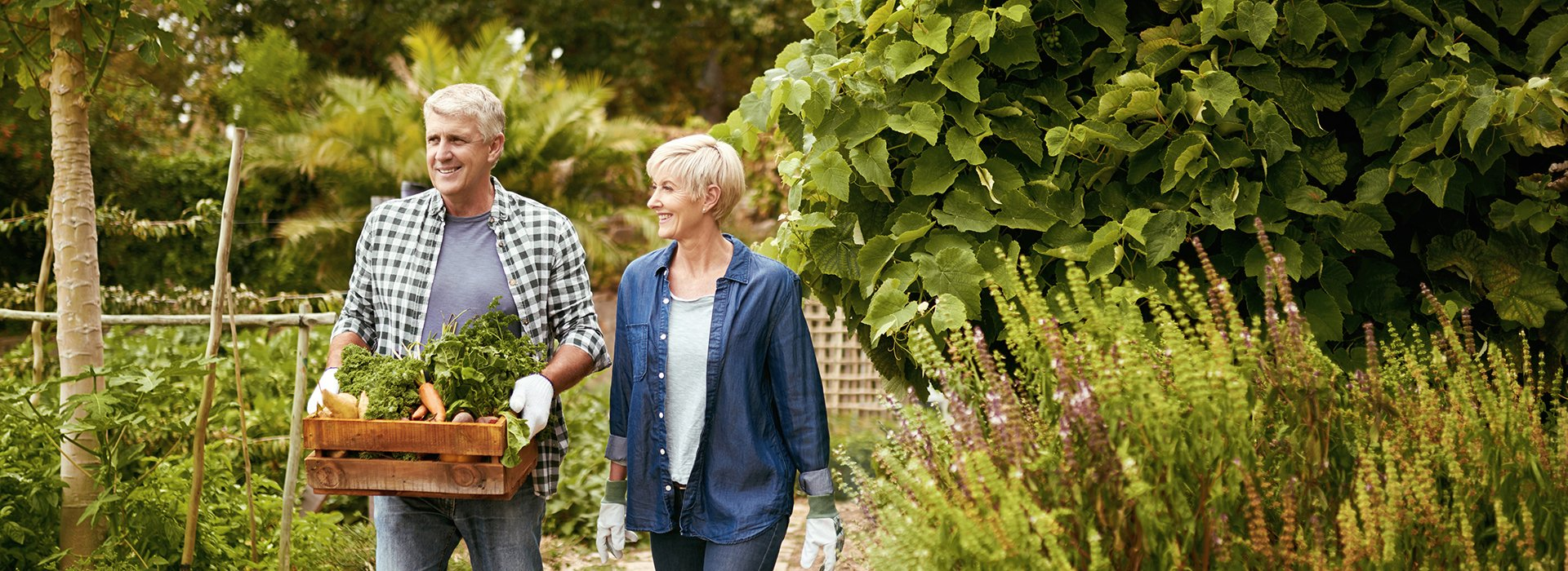 Couple walking in garden.