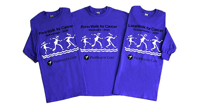 2020 ProHealth Walks for Cancer T-shirts.